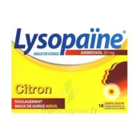 LysopaÏne Ambroxol 20 Mg Pastilles Maux De Gorge Sans Sucre Citron Plq/18 à JUAN-LES-PINS